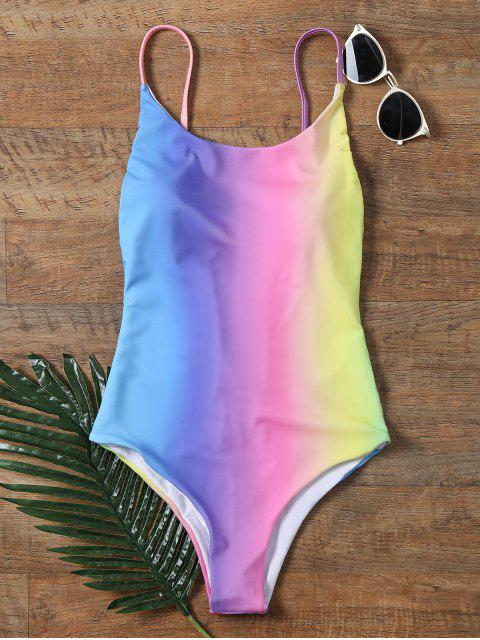 chic Colorful Backless One Piece Ombre Swimwear - COLORMIX M Mobile