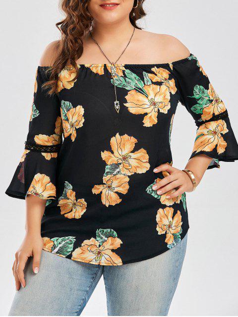 Gasa de tamaño más floral de la blusa hawaiana del hombro - Negro XL Mobile