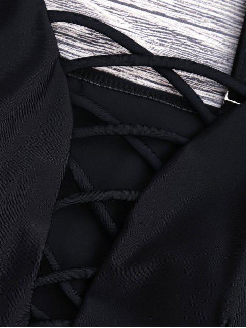 Перекрестные шнурки Глубокий воротник Слитный Купальник - Чёрный L Mobile