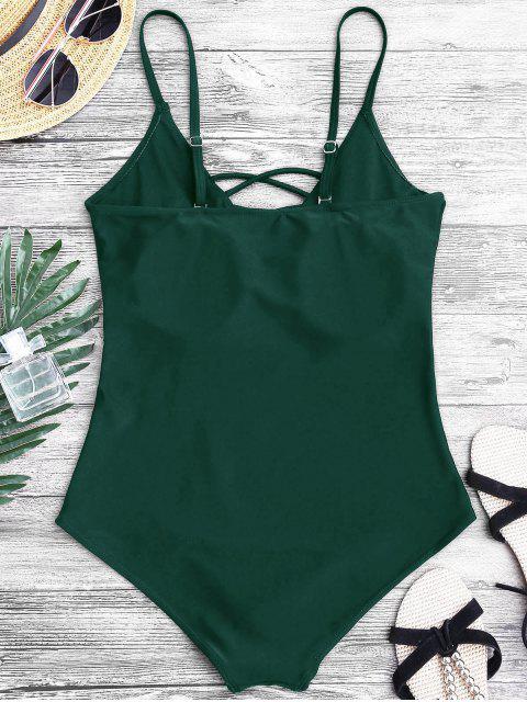 Перекрестные шнурки Глубокий воротник Слитный Купальник - Зеленый L Mobile