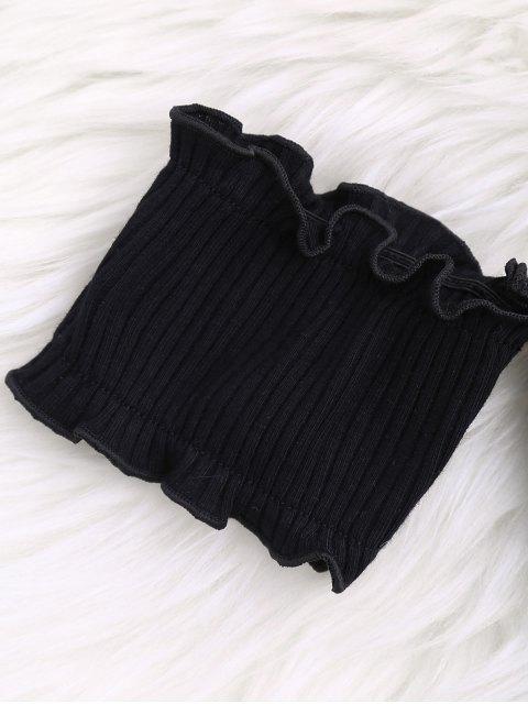 Top côtelé épaules dénudés plissé - Noir Taille Unique Mobile