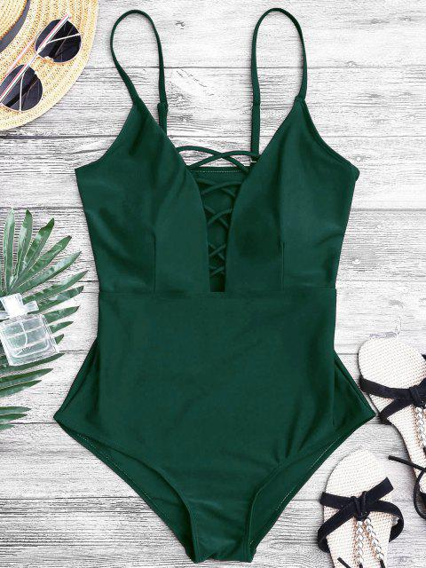 ladies Shaping Crisscross Plunge One-piece Swimsuit - GREEN L Mobile