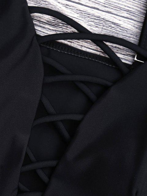 women Shaping Crisscross Plunge One-piece Swimsuit - BLACK L Mobile