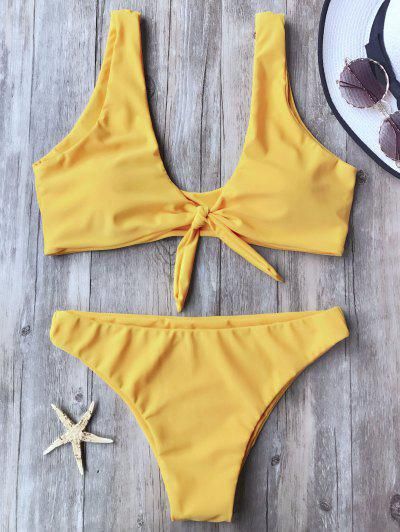 Knotted Scoop Bikini Top And Bottoms - Yellow M
