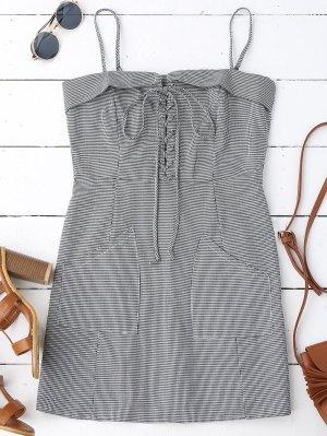 Houndstooth Lace Up Slip Mini Dress - Carré L
