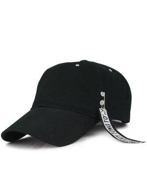 El Anillo Del Círculo De Las Letras De La Flámula Adornó El Sombrero De Béisbol - Negro