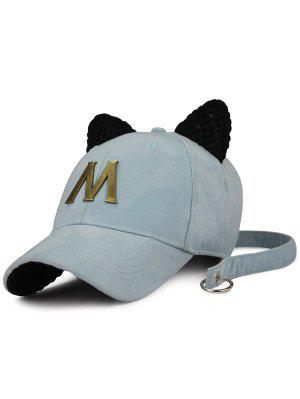 Metal Letter Cat Ear Embellished Long Tail Hat - Light Blue