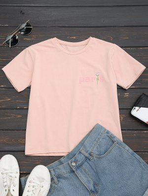 Cotton Letter Rose Embroidered T-Shirt - Pink M