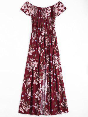 Impresión Floral Del Vestido Asimétrico Del Hombro - Vino Rojo M