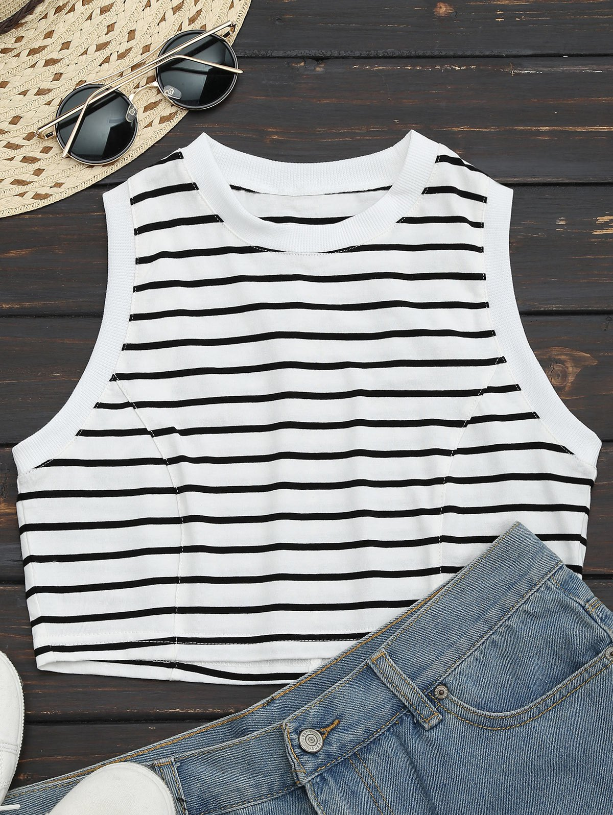 Sports Striped Cropped Tank Top