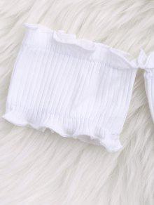 Top De Blanco Volantes Texturizado Con Off Ribera Hombro Cultivo w05qxnHBO