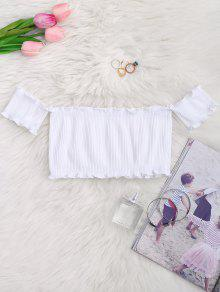 Off Shoulder Rib Textured Ruffled Crop Top - White