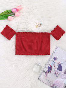 Off Shoulder Rib Textured Ruffled Crop Top - Red