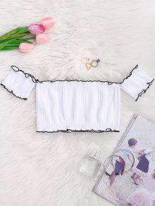 Off Shoulder Ribbed Piping Ruffled Crop Top - White