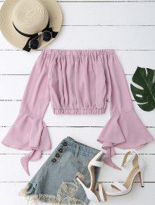 Bell Sleeve Off Shoulder Cropped Blouse - Pale Pinkish Grey S