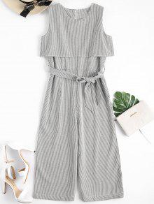 Sleeveless Overlay Belted Striped Jumpsuit - Stripe S