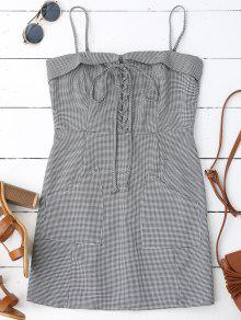 Houndstooth Lace Up Slip Mini Dress - Checked L