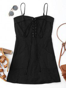 Lace Up Slip Mini Dress With Two Pockets - Black S