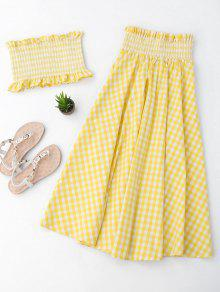 Ruffles Smocked Tube Top And Checked A-Line Maxi Skirt - Yellow S