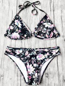Halter Plunge Floral Bikini Top And Bottoms - Black L