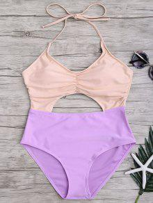 Buy Ruched Color Block Cutout One Piece Swimsuit - PINK AND PURPLE M