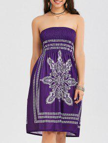 فستان بوهيمي طباعة قبلية بلا الشريط - أرجواني Xl
