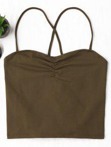 Ruched Cropped Lace Up Tank Top - Coffee S