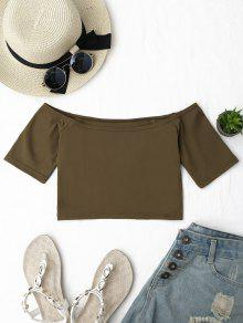 Cropped Cotton Off Shoulder Top - Coffee