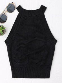 Buy Knitting High Neck Tank Top - BLACK L
