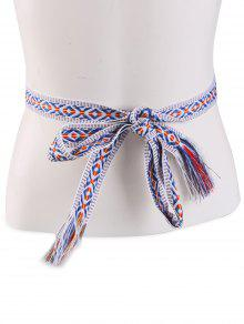 Ethnic Retro Woven Fringed Waist Strap - Blue Stripe