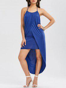 فستان رسن بلا أكمام عالية انخفاض - أزرق M