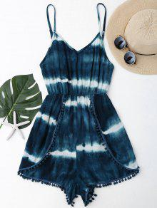 Cami Tie-Dyed Pom Dolphin Cover Up Romper - Malachite Green S