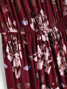 schulterfreies asymmetrisches kleid mit blumendruck weinrot printkleider s zaful. Black Bedroom Furniture Sets. Home Design Ideas
