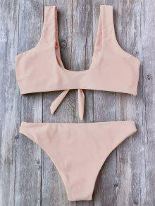 b54379023e5e3 38% OFF   HOT  2019 Knotted Scoop Bikini Top And Bottoms In PINK