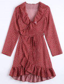Star Print Ruffle Hem Wrap Dress - Dark Red L