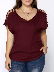 V Neck Ripped Sleeve T Shirt