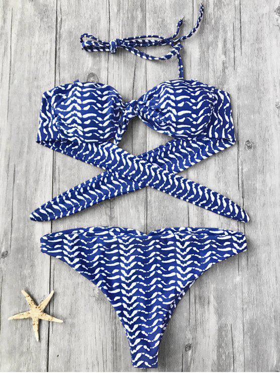 Top de bikini anudado a rayas y bikini - Azul S