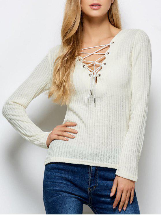 online Ribbed Knit Lace Up Jumper - BEIGE S