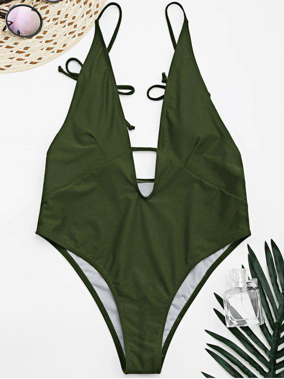 women's Tied Cami Plunging Neck High Cut Swimsuit - ARMY GREEN L