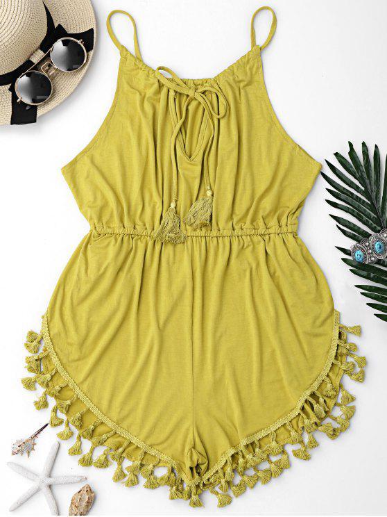 Macaquinho De Praia Com Borlas - Amarelo Azulado L