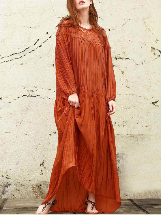 fancy Sateen Puff Sleeve See-Through Maxi Dress - DARKSALMON XS