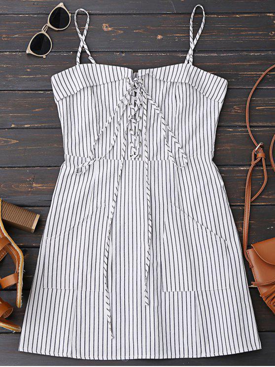 women Lace Up Stripes Mini Dress with Two Pockets - STRIPE S