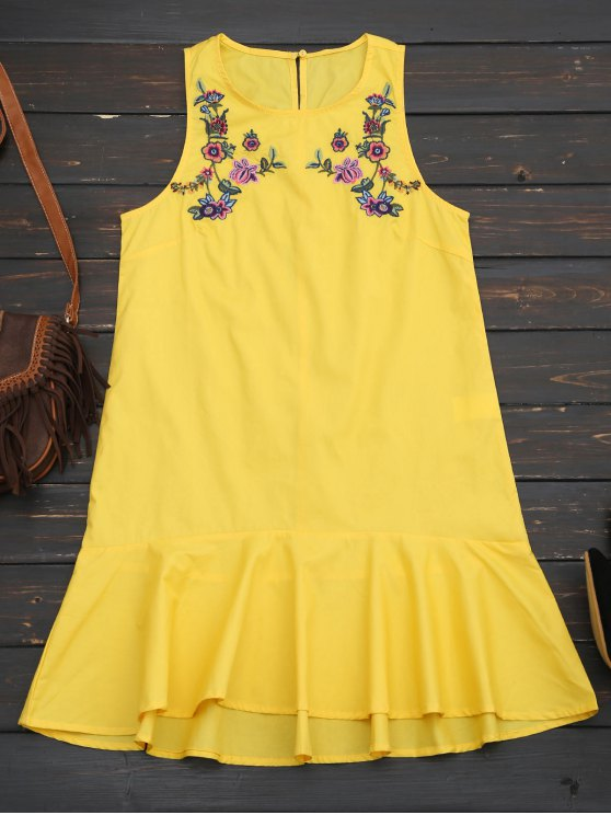 ladies Ruffles Floral Embroidered Casual Dress - YELLOW M