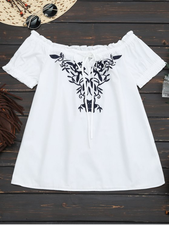 outfits Embroidered Flounced Off Shoulder Top - WHITE S