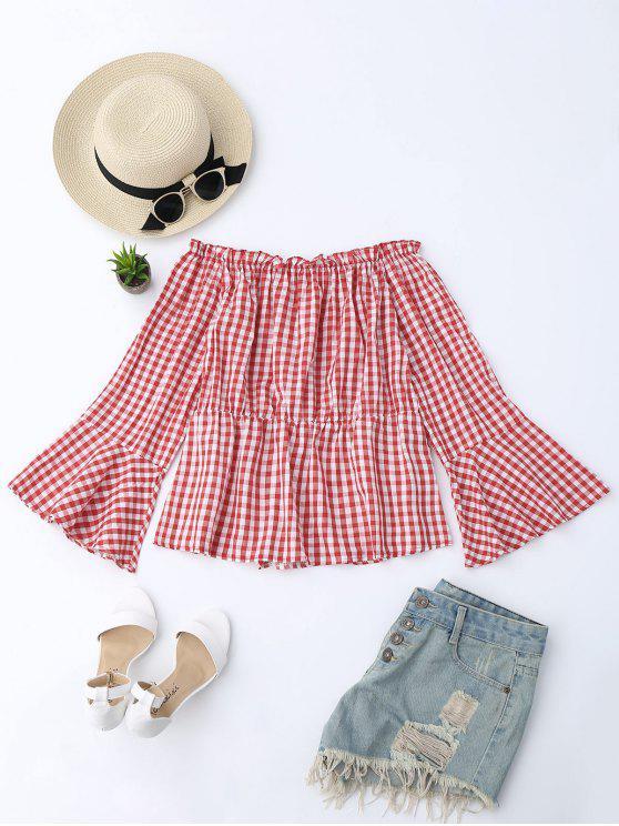 fashion Ruffle Hem Flare Sleeve Checked Blouse - CHECKED M