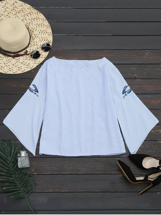 unique Flare Sleeve Stripes Embroidered Blouse - STRIPE L