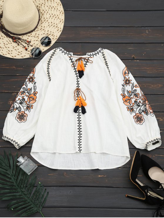womens Lantern Sleeve Tassels Embroidered Blouse - WHITE M