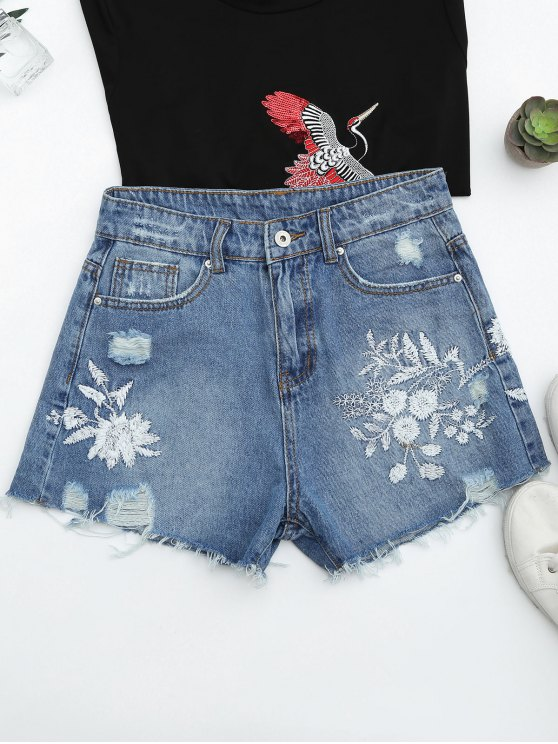 women Cutoffs Ripped Floral Embroidered Denim Shorts - DENIM BLUE S