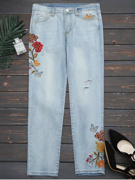 ladies Ripped Floral Embroidered Narrow Feet Jeans - DENIM BLUE M
