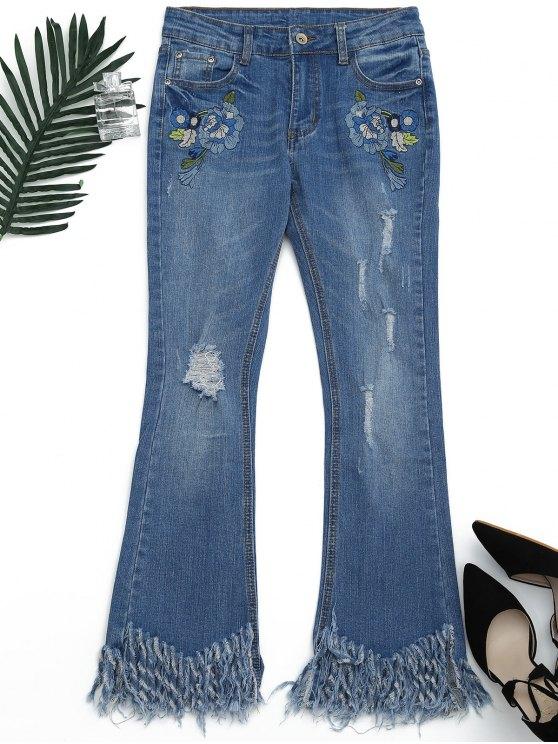 online Distressed Embroidered Cutoffs Flared Jeans - DENIM BLUE L